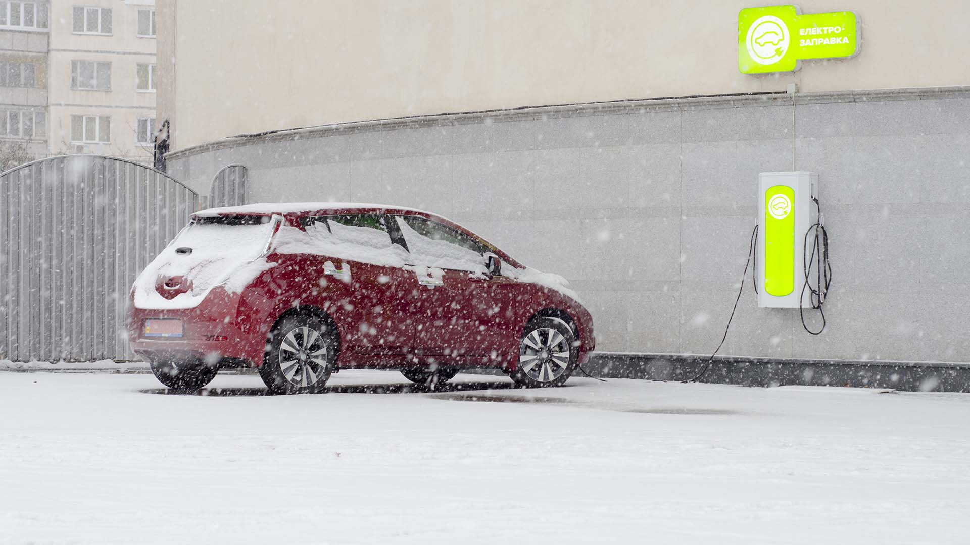 Nissan Leaf in the snow