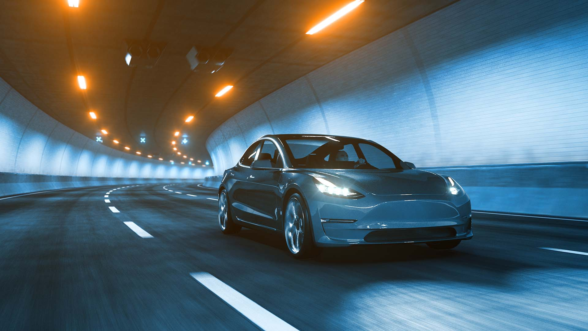 Tesla Model 3 in a tunnel
