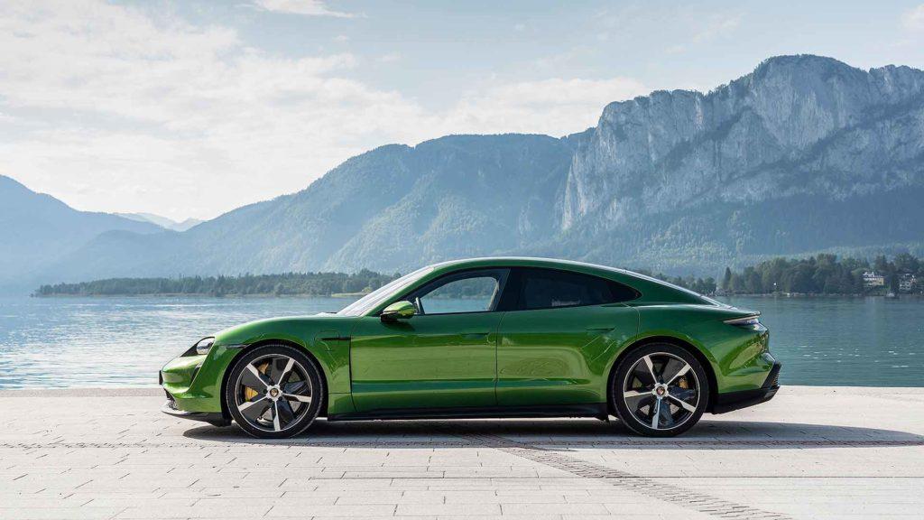 Porsche Taycan in green