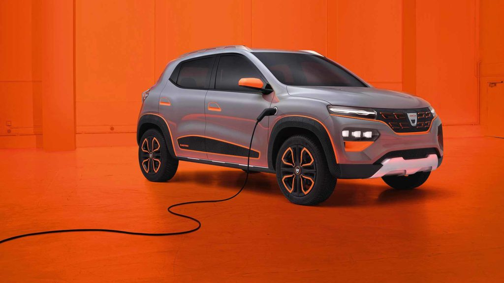 Dacia Spring Electric Concept front quarter with charging cable
